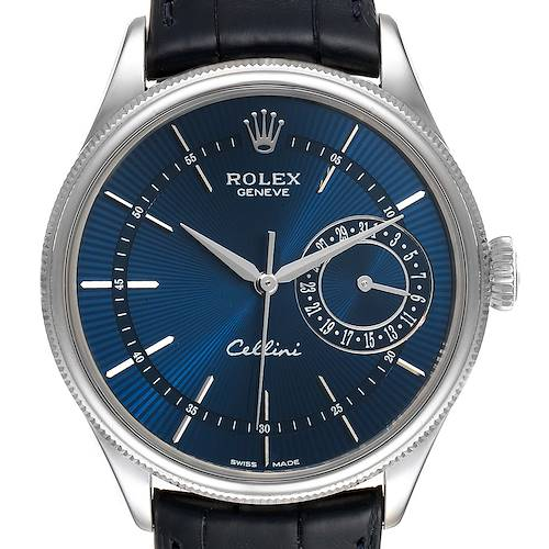 Photo of Rolex Cellini Date 18K White Gold Blue Dial Automatic Mens Watch 50519