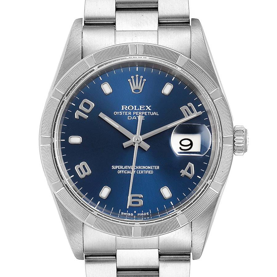 Rolex Date Blue Dial Engine Turned Bezel Steel Mens Watch 15210 Papers SwissWatchExpo