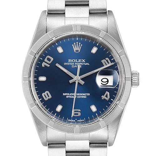 Rolex Date Blue Dial Engine Turned Bezel Steel Mens Watch 15210 Papers