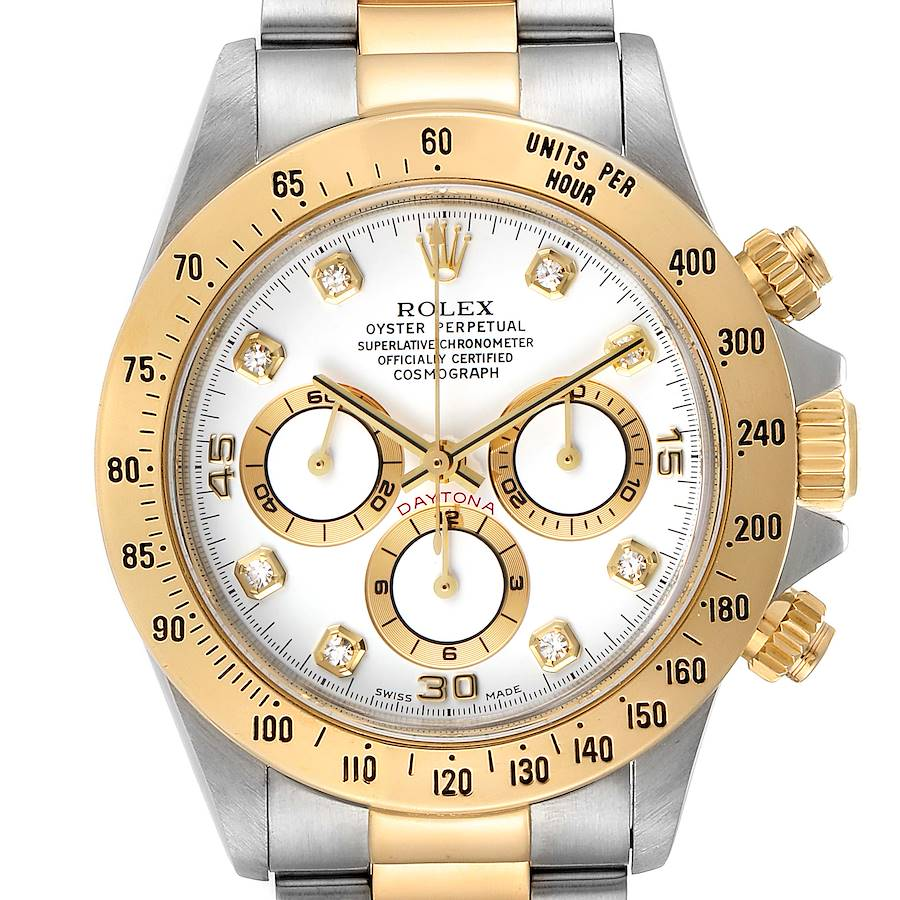 Rolex Daytona Steel Yellow Gold White Diamond Dial Mens Watch 16523 SwissWatchExpo