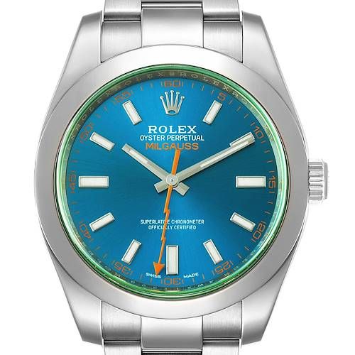 Photo of Rolex Milgauss Blue Dial Green Crystal Steel Mens Watch 116400 Box Card