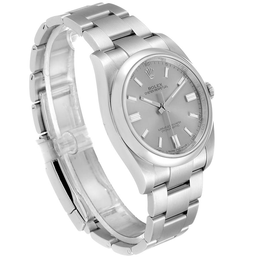 Rolex Oyster Perpetual Rhodium Dial Steel Mens Watch 116000 SwissWatchExpo
