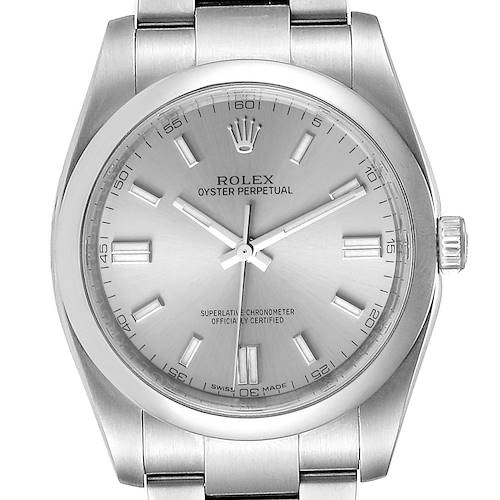 Photo of Rolex Oyster Perpetual Rhodium Dial Steel Mens Watch 116000