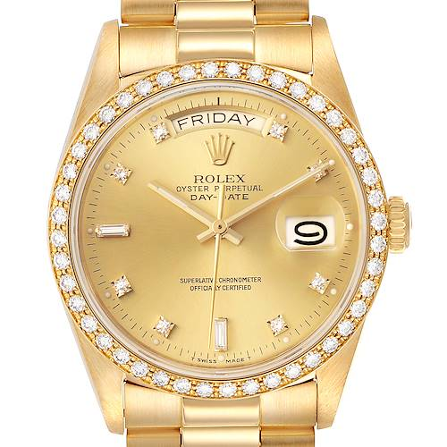 Photo of Rolex President Day-Date Yellow Gold Diamond Bezel Watch 18048
