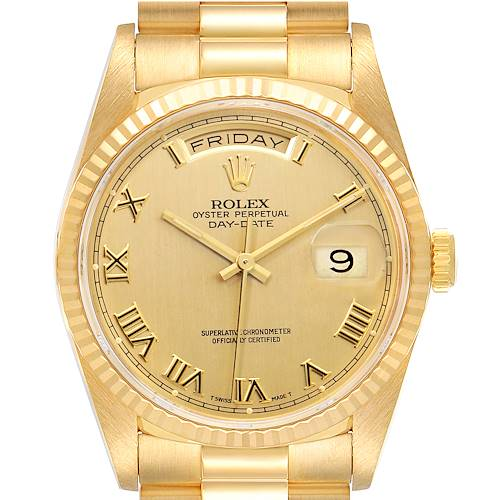 Photo of Rolex President Day-Date Yellow Gold Roman Dial Mens Watch 18238