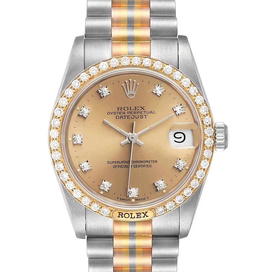 Rolex President Tridor 31mm Midsize White Yellow Rose Diamond Watch 68149 SwissWatchExpo