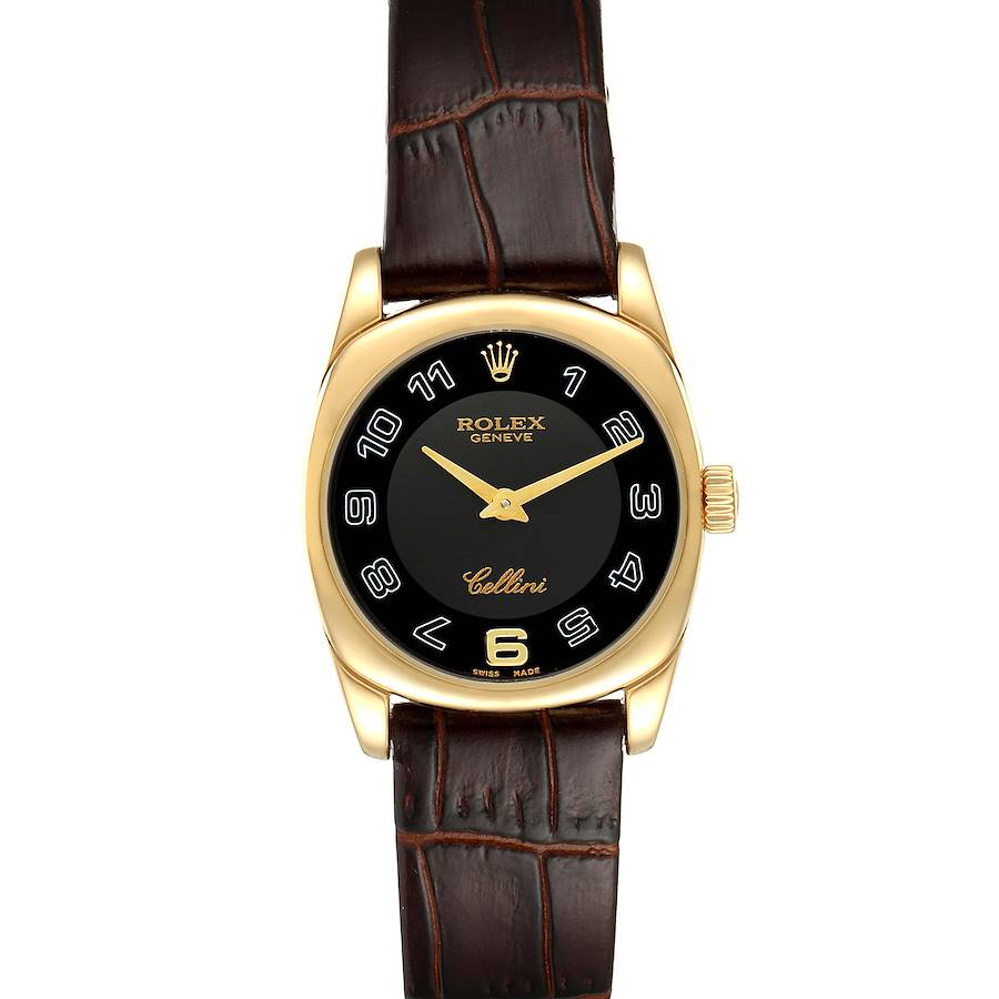Rolex Cellini Danaos Yellow Gold Black Dial Ladies Watch 6229 SwissWatchExpo