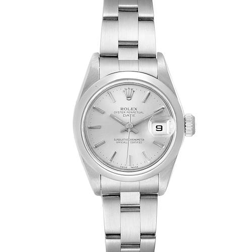 Photo of Rolex Date Silver Dial Oyster Bracelet Steel Ladies Watch 79160