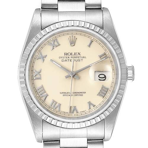 Photo of Rolex Datejust 36 Ivory Roman Dial Steel Mens Watch 16220