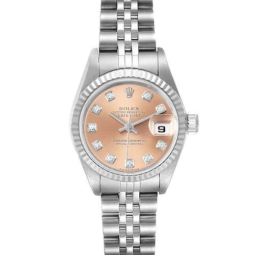 Photo of Rolex Datejust Steel White Gold Salmon Diamond Dial Ladies Watch 79174