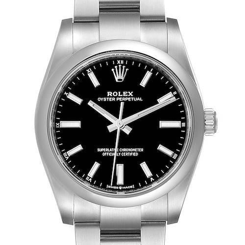 Photo of Rolex Oyster Perpetual 34mm Black Dial Steel Watch 124200 Unworn