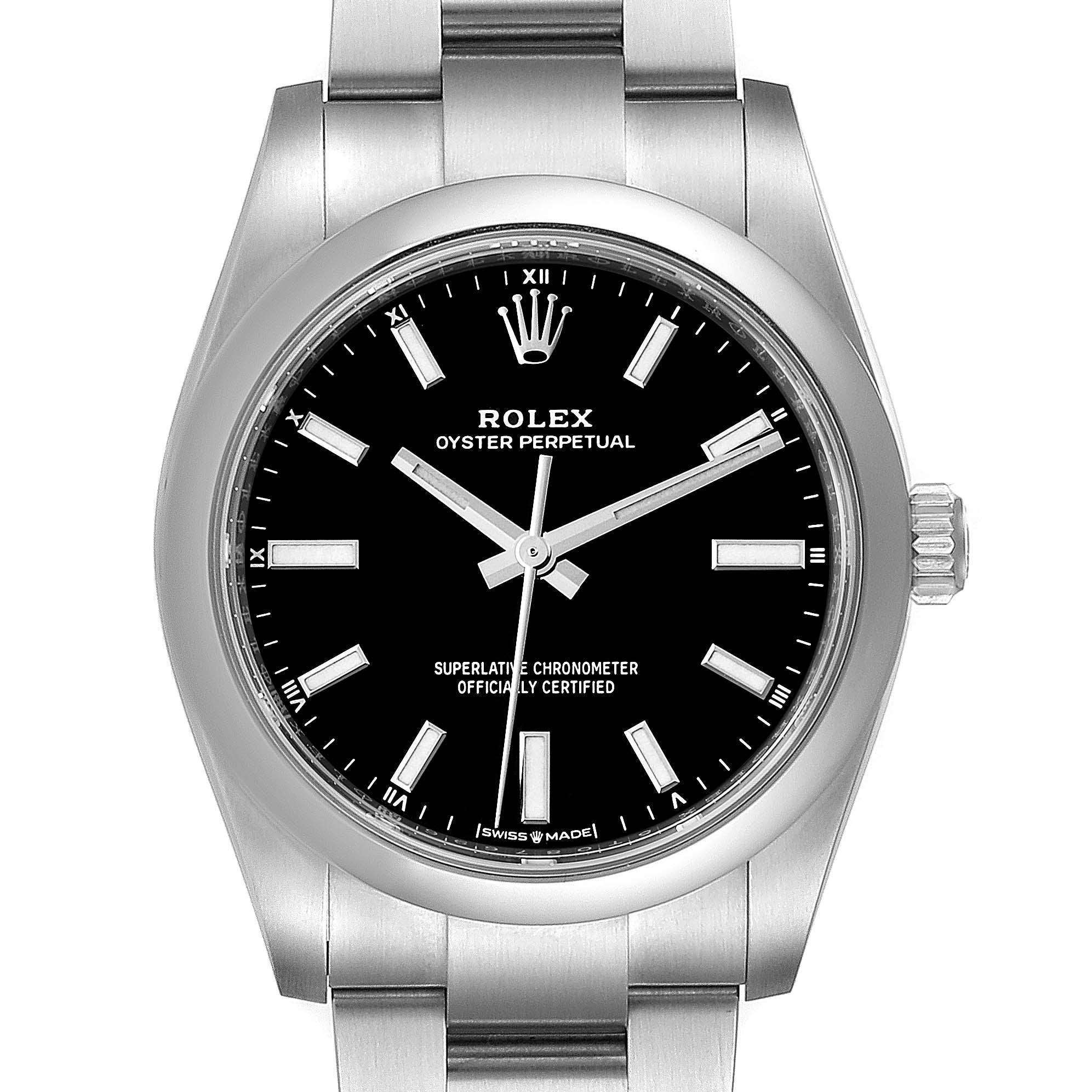Rolex Oyster Perpetual 34mm Black Dial Steel Watch 124200 Unworn SwissWatchExpo