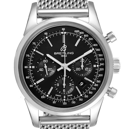 Photo of Breitling Transocean Mesh Bracelet Chronograph Steel Mens Watch AB0152 Papers