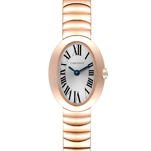 Photo of Cartier Baignoire Mini 18K Rose Gold Ladies Watch W8000015 Box Papers