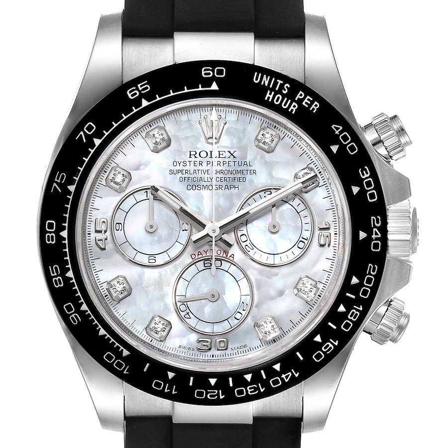 Rolex Cosmograph Daytona White Gold MOP Diamond Dial Mens Watch 116519 SwissWatchExpo
