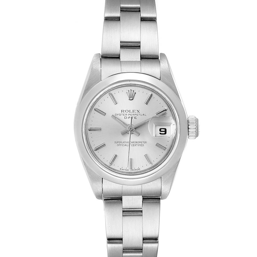 Rolex Date Silver Dial Oyster Bracelet Steel Ladies Watch 79160 Papers SwissWatchExpo