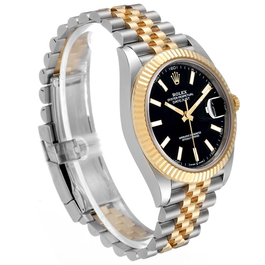 Rolex Datejust 41 Steel Yellow Gold Black Dial Mens Watch 126333 Box Card SwissWatchExpo
