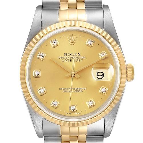 Photo of Rolex Datejust Steel Yellow Gold Diamond Mens Watch 16233