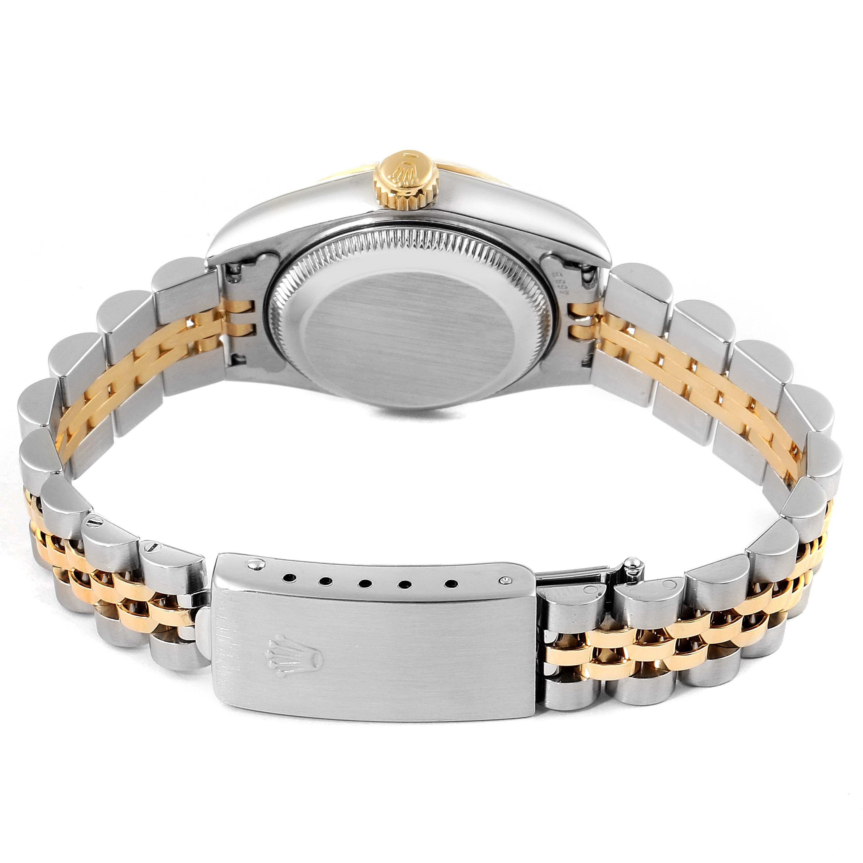 Rolex Datejust Steel Yellow Gold Silver Diamond Dial Ladies Watch 69173 SwissWatchExpo