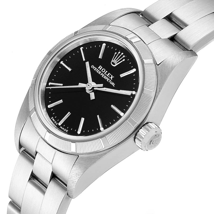 Rolex Oyster Perpetual NonDate Black Dial Ladies Watch 76030 SwissWatchExpo