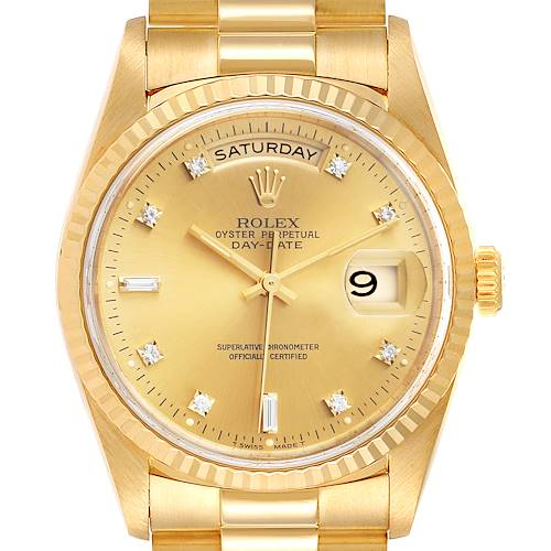 Photo of Rolex President Day-Date 36mm Yellow Gold Diamond Mens Watch 18238