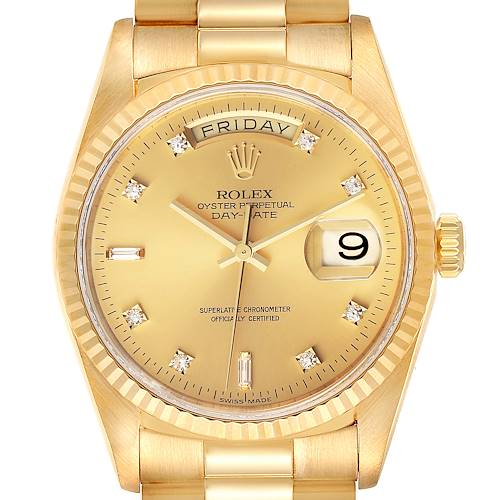 Photo of Rolex President Day-Date 36mm Yellow Gold Diamond Mens Watch 18238 Papers