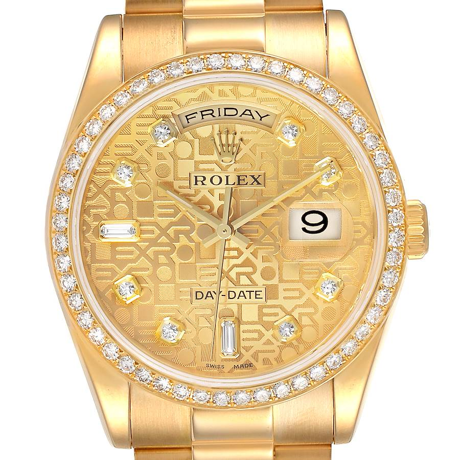 Rolex President Day Date Yellow Gold Diamond Mens Watch 118348 SwissWatchExpo