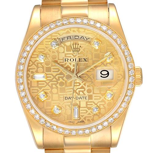 Photo of Rolex President Day Date Yellow Gold Diamond Mens Watch 118348