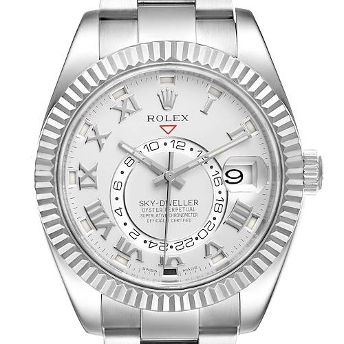 Photo of Rolex Sky-Dweller White Gold Roman Dial Mens Watch 326939 Box Card