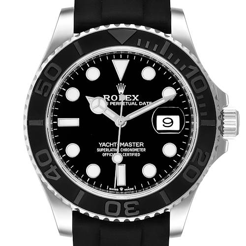 Photo of Rolex Yachtmaster White Gold Black Rubber Strap Mens Watch 226659 Box Card