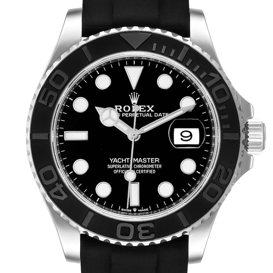 Rolex Yachtmaster White Gold Black Rubber Strap Mens Watch 226659 Box Card SwissWatchExpo