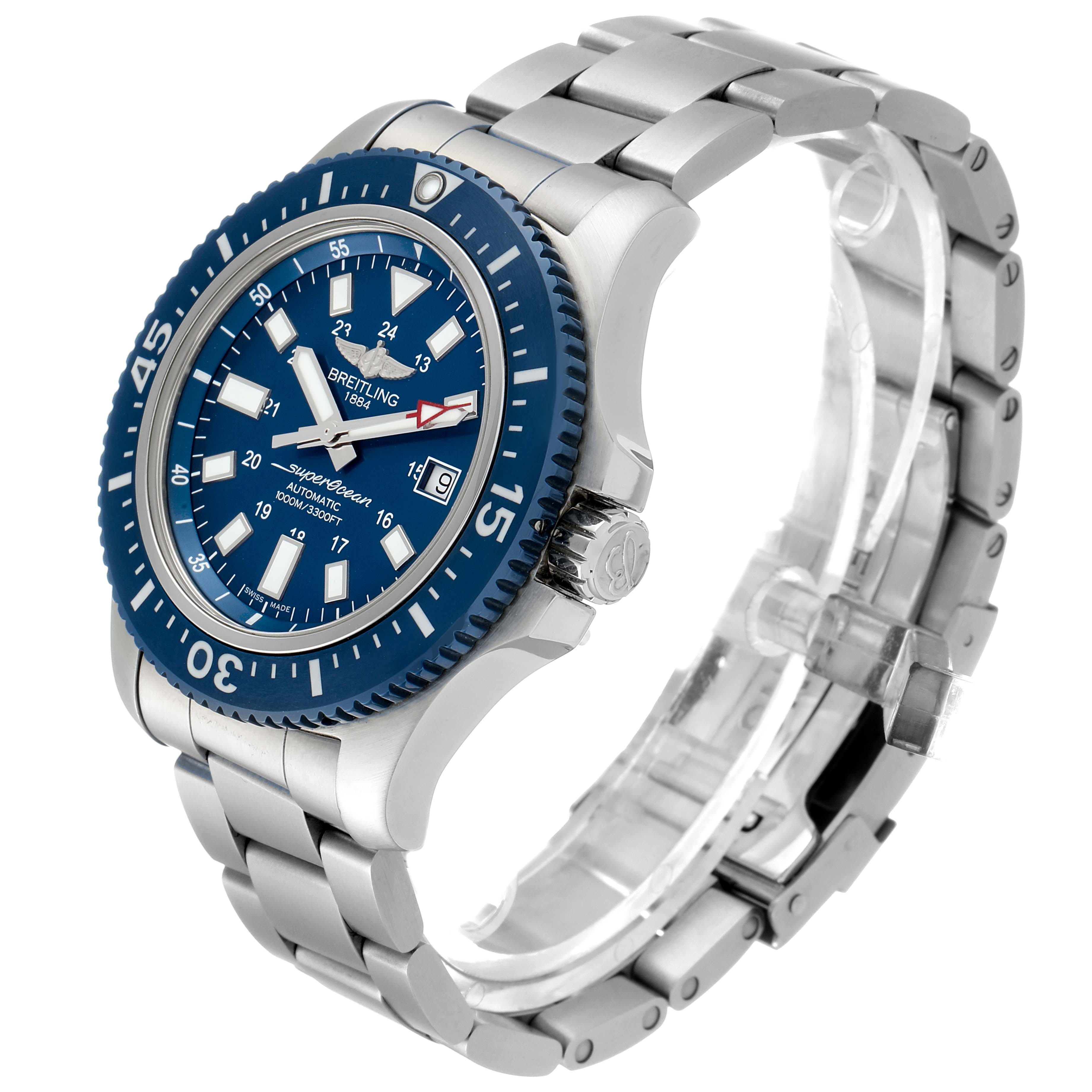 Breitling Aeromarine Superocean 44 Blue Dial Watch Y1739310 Box Papers SwissWatchExpo
