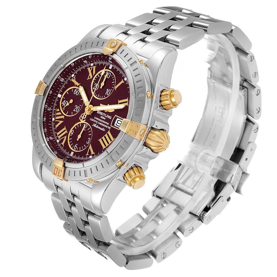 Breitling Chronomat Steel Yellow Gold Burgundy Dial Mens Watch B13356 SwissWatchExpo