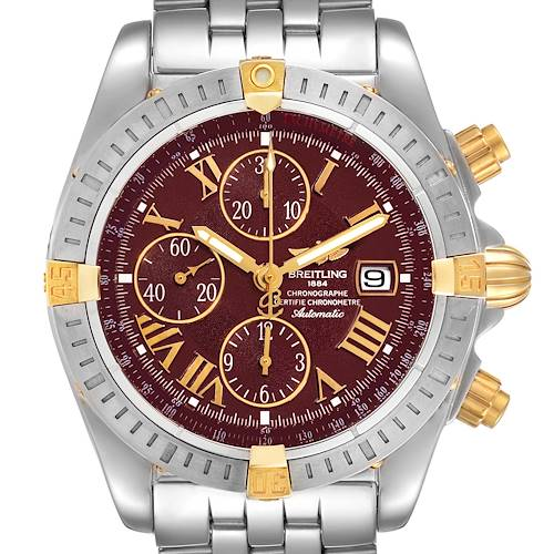 Photo of Breitling Chronomat Steel Yellow Gold Burgundy Dial Mens Watch B13356