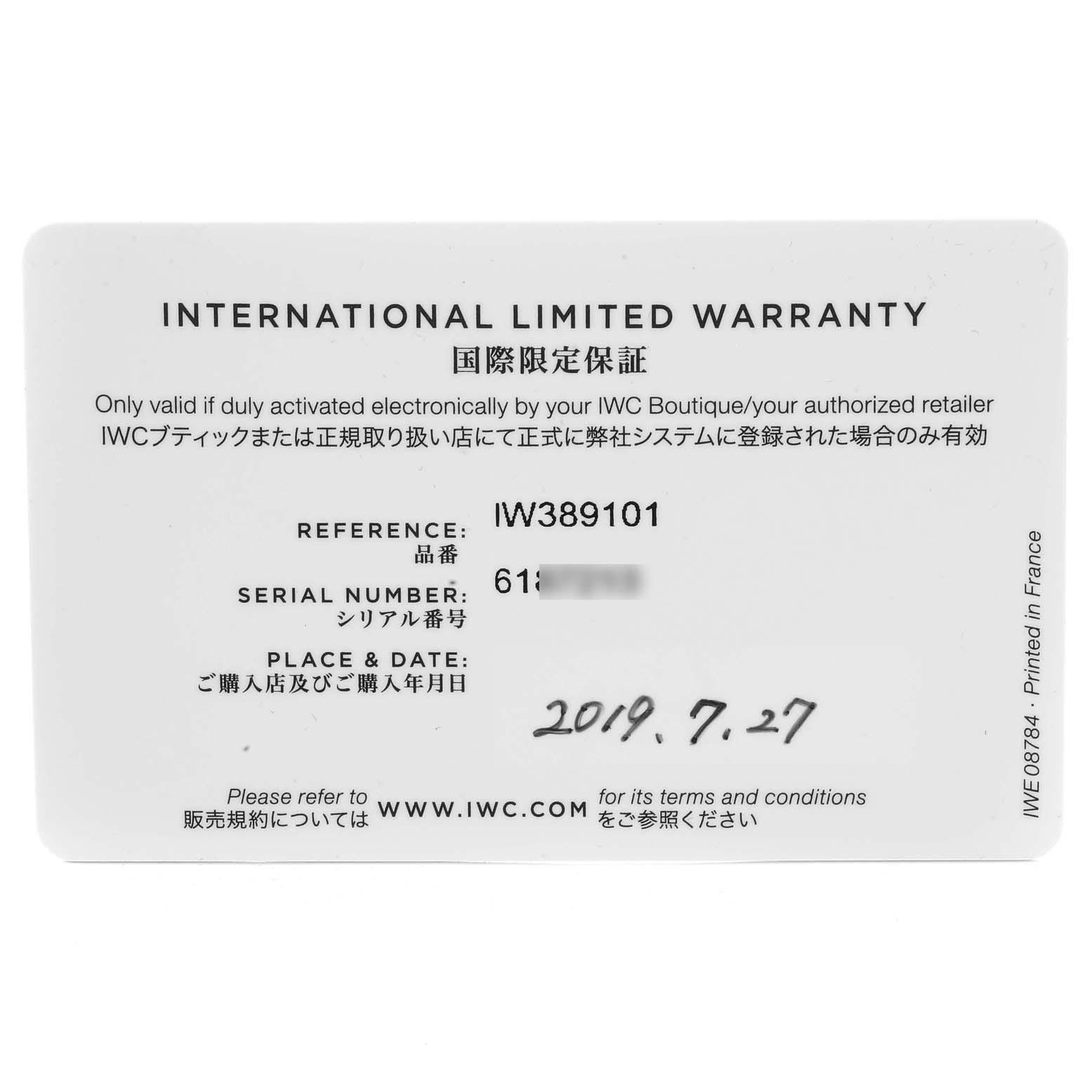 IWC Pilot Top Gun Chronograph Black Dial Mens Watch IW389101 Box Papers SwissWatchExpo