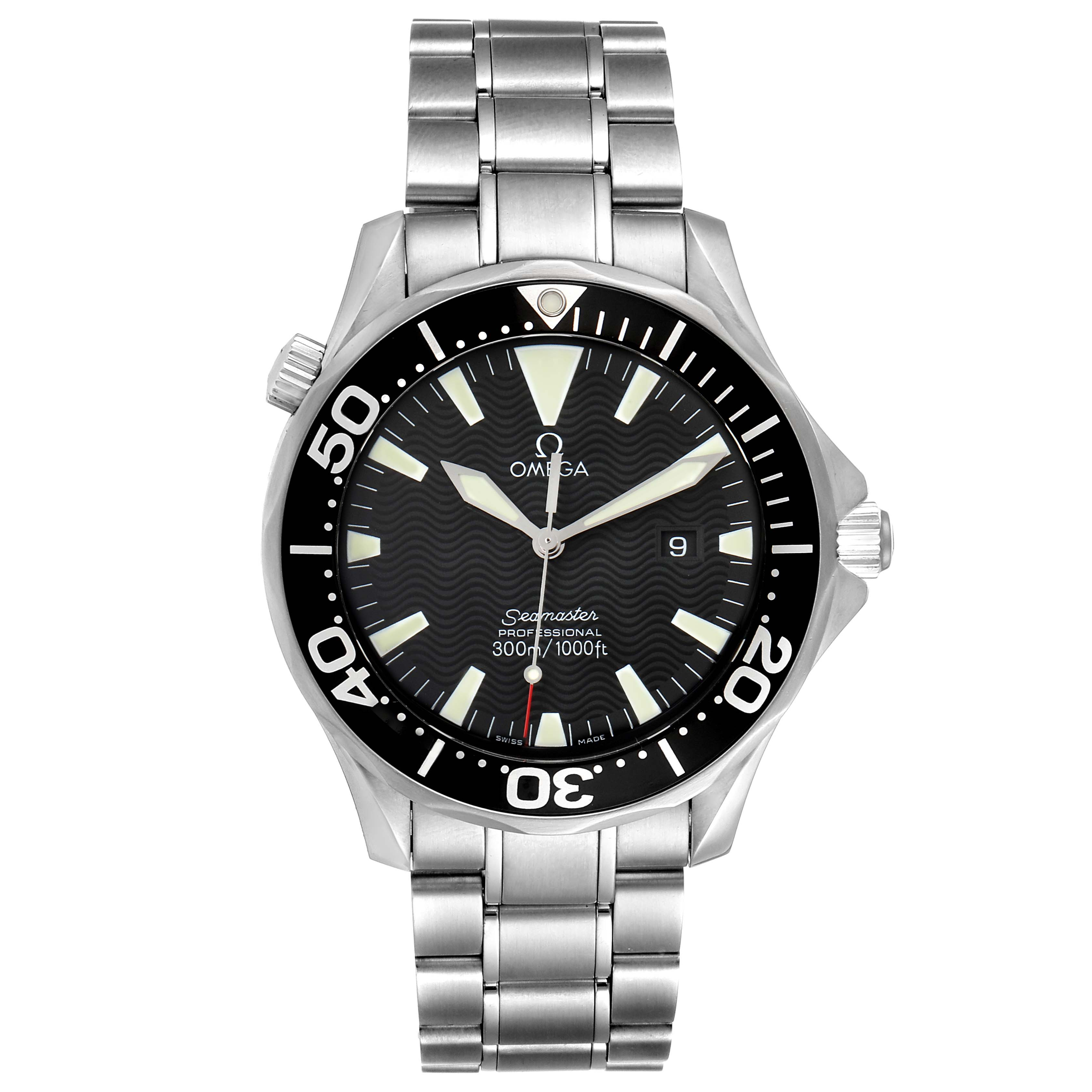 Omega Seamaster 41mm Black Dial Stainless Steel Mens Watch 2264.50.00 SwissWatchExpo
