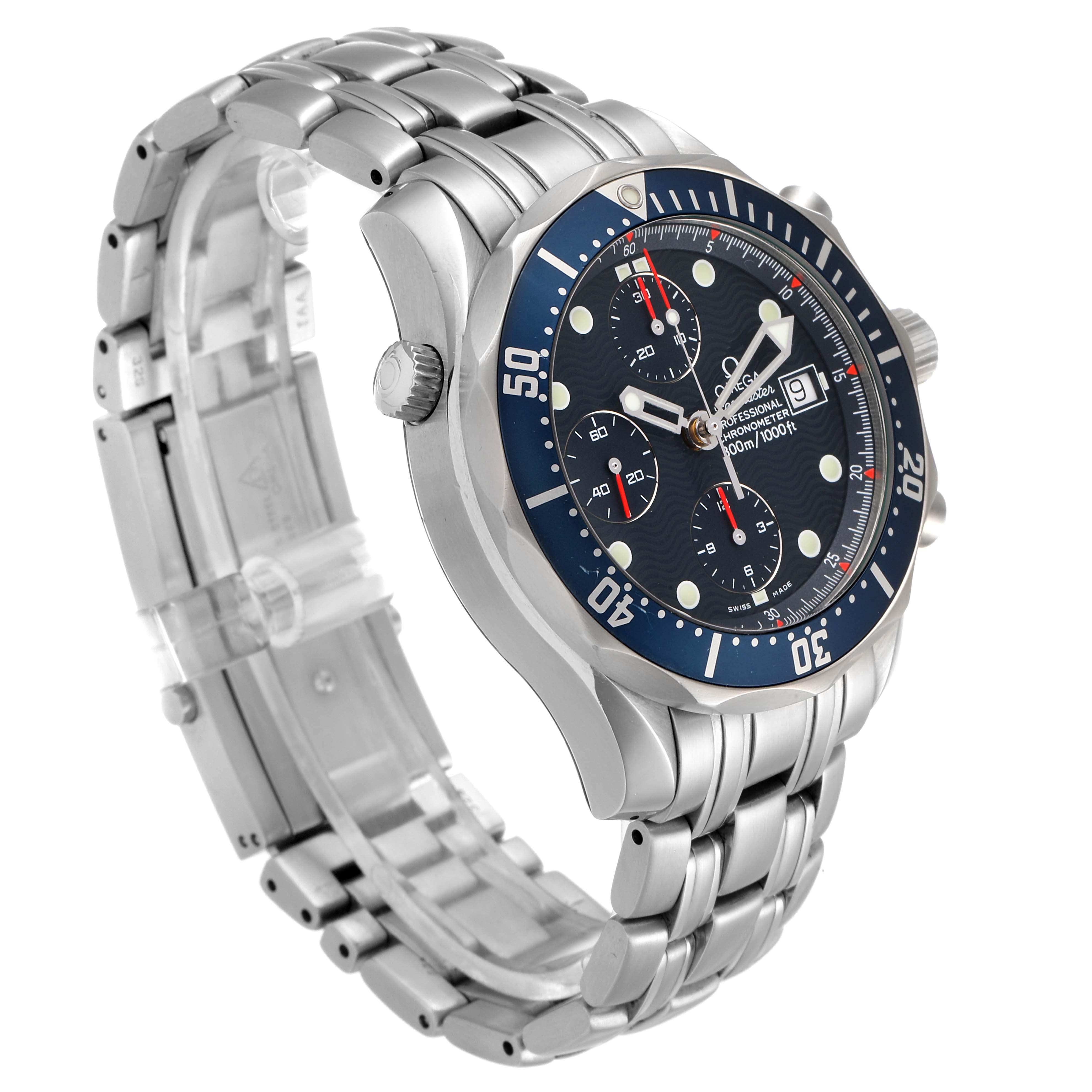 Omega Seamaster Bond Chrono Blue Wave Dial Mens Watch 2599.80.00 SwissWatchExpo