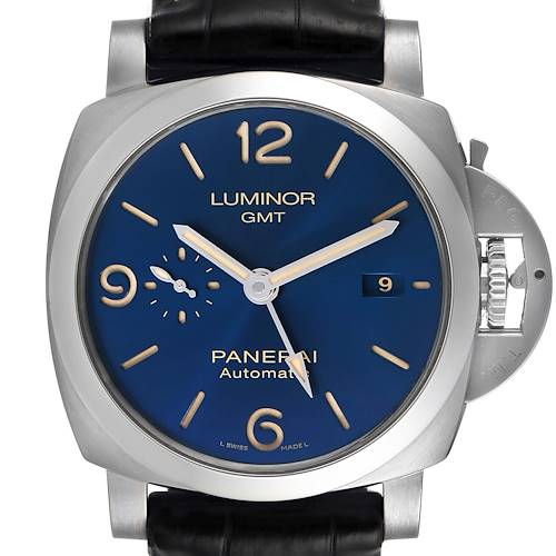 Photo of Panerai Luminor 1950 3 Days GMT 44mm Blue Dial Watch PAM01033 Box Papers