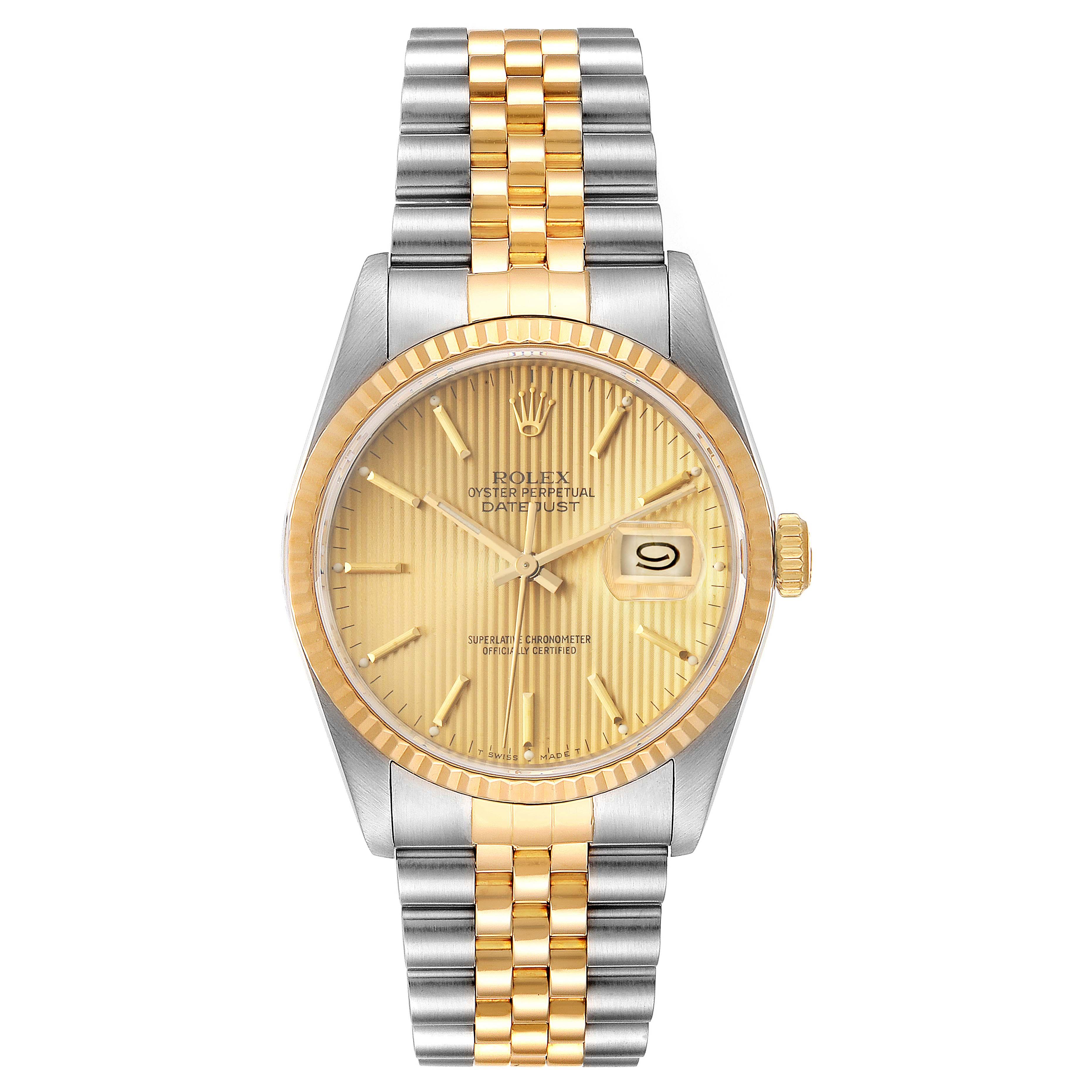 Rolex Datejust Steel 18K Yellow Gold Mens Watch 16233 Box Papers SwissWatchExpo