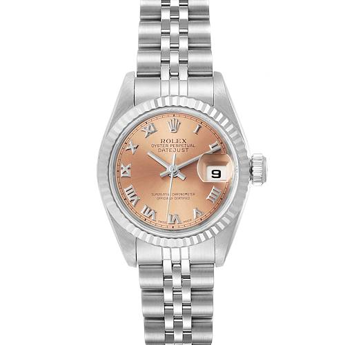 Photo of Rolex Datejust Steel White Gold Salmon Dial Ladies Watch 69174 Papers