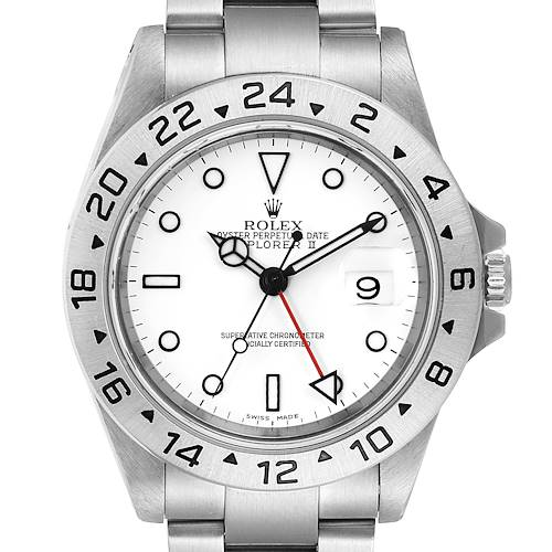 Photo of Rolex Explorer II White Dial Automatic Steel Mens Watch 16570 Tag