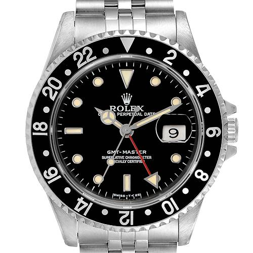 Photo of Rolex GMT Master Black Bezel Automatic Steel Mens Watch 16700