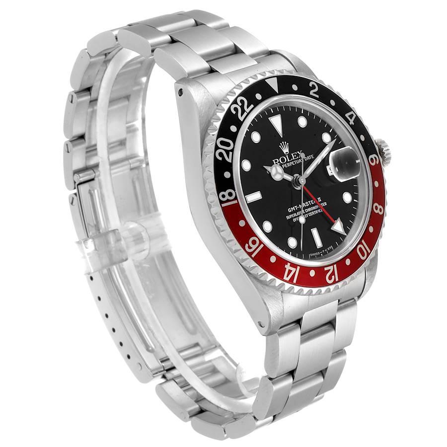 Rolex GMT Master II Black Red Coke Bezel Mens Watch 16710 SwissWatchExpo