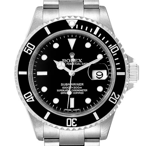 Photo of Rolex Submariner Black Dial Stainless Steel Mens Watch 16610 Tag