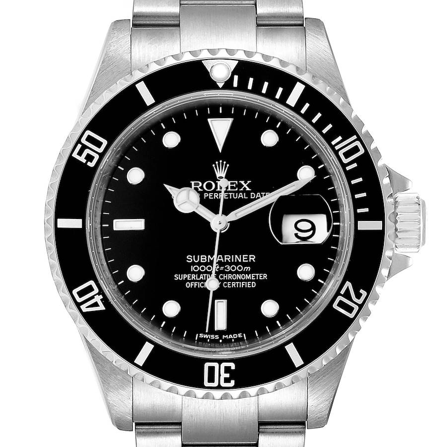 Rolex Submariner Black Dial Stainless Steel Mens Watch 16610 Tag SwissWatchExpo