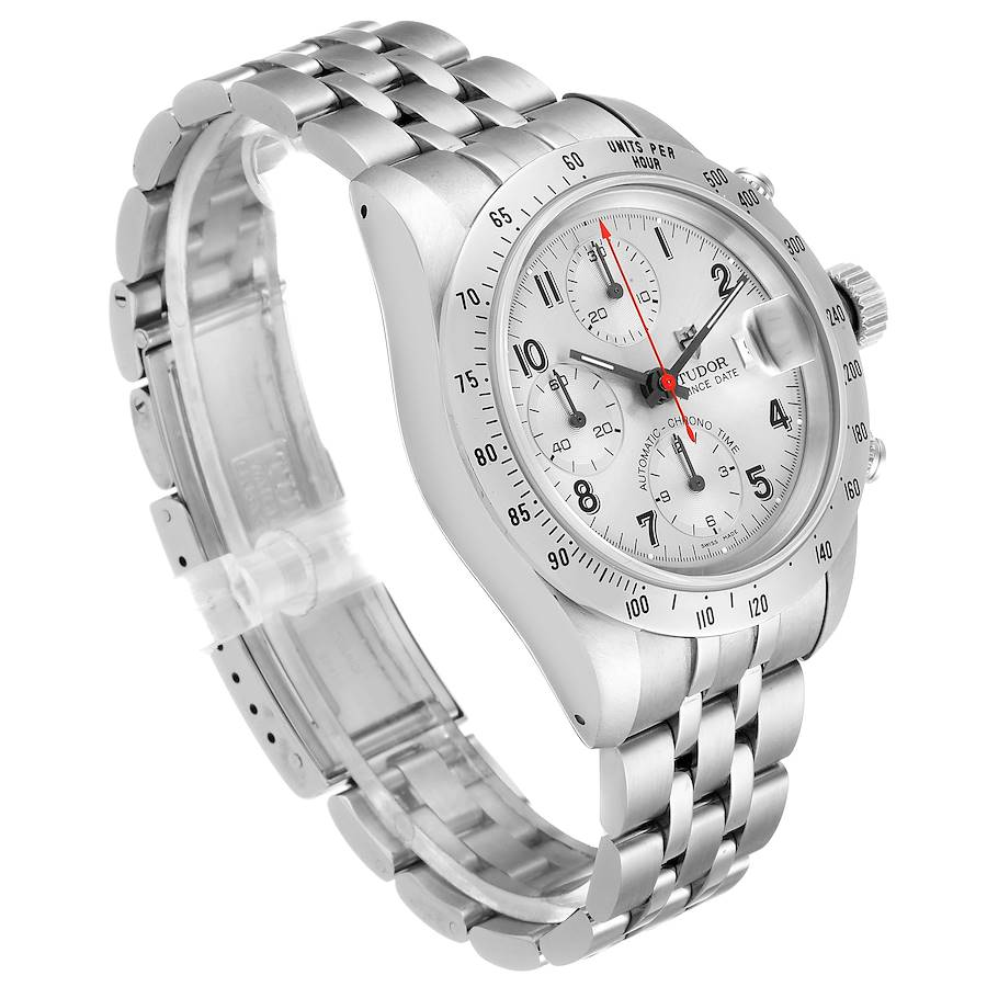 Tudor Tiger Woods Chronograph Silver Dial Steel Mens Watch 79280 Box Papers SwissWatchExpo