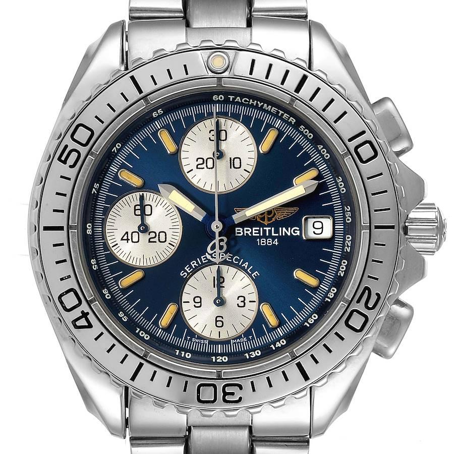 Breitling Aeromarine Chrono Shark Blue Dial Steel Mens Watch A13051 SwissWatchExpo