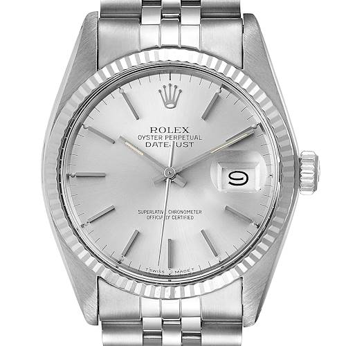 Photo of Rolex Datejust Steel White Gold Silver Dial Vintage Mens Watch 16014