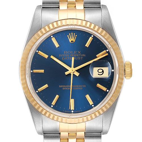Photo of Rolex Datejust Steel Yellow Gold Blue Dial Mens Watch 16233 Papers