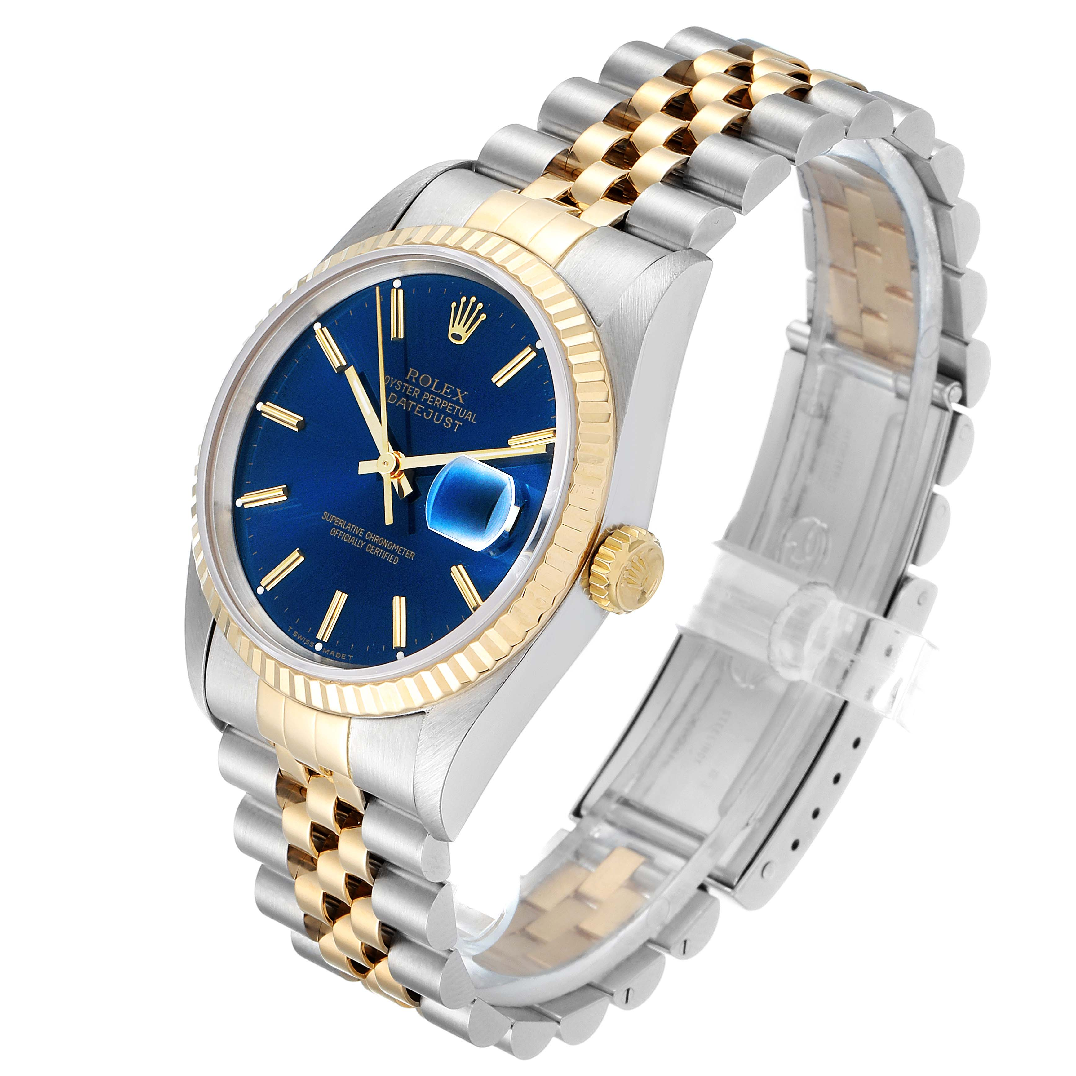 Rolex Datejust Steel Yellow Gold Blue Dial Mens Watch 16233 Papers SwissWatchExpo